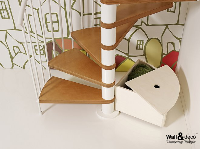 Storage Container For Spiral Staircases, Spiral Staircase Storage